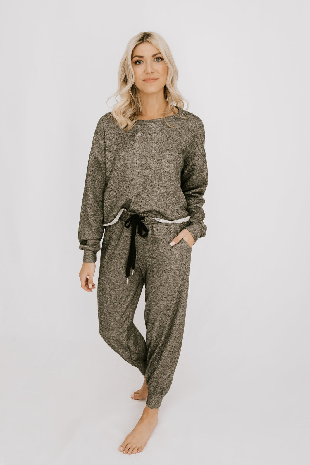 Start Fresh Sweatshirt + Jogger Set - Charcoal