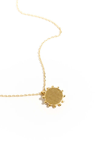 Sun Disc Pendant Necklace - Gold