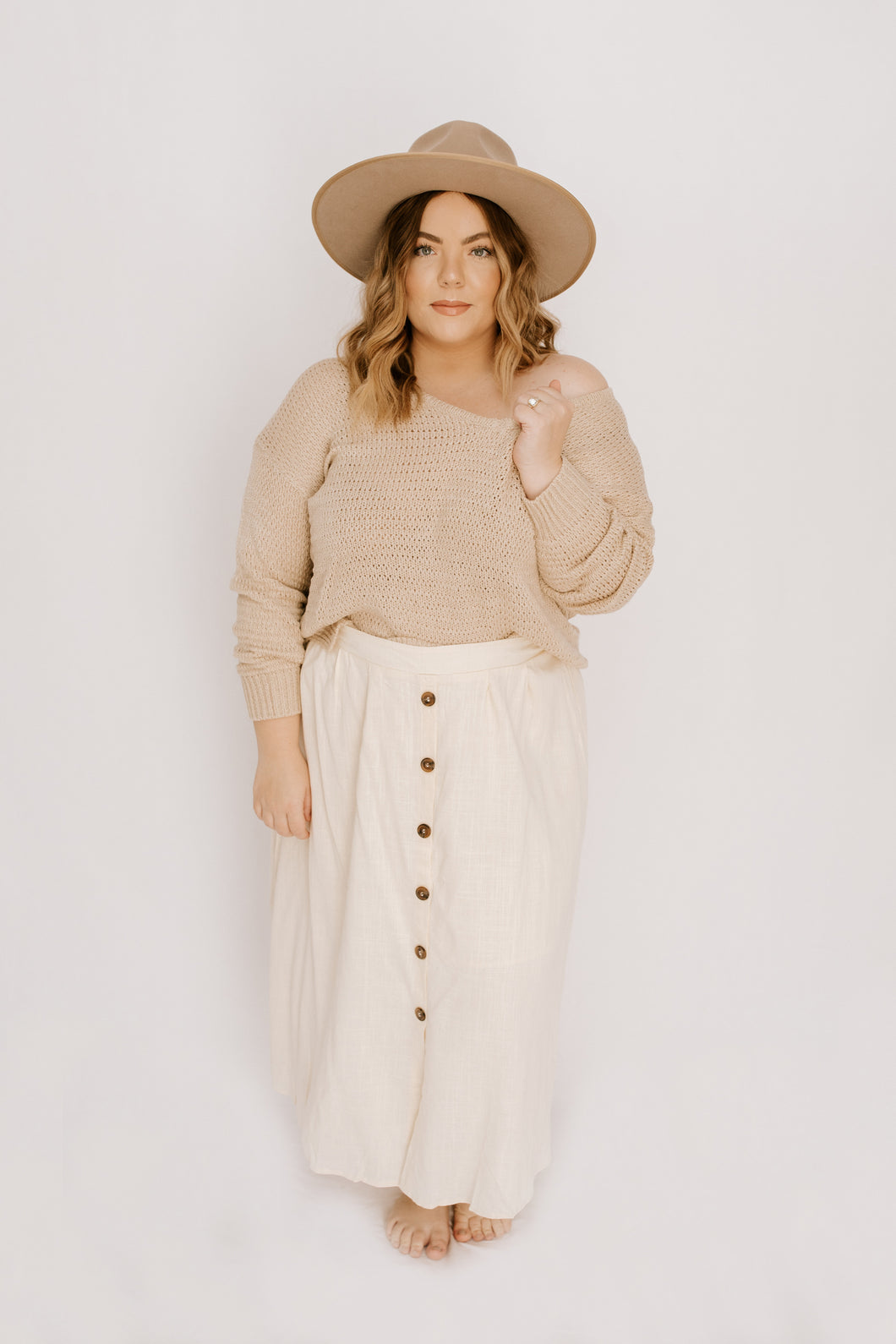 With The Wind Midi Skirt - Cream