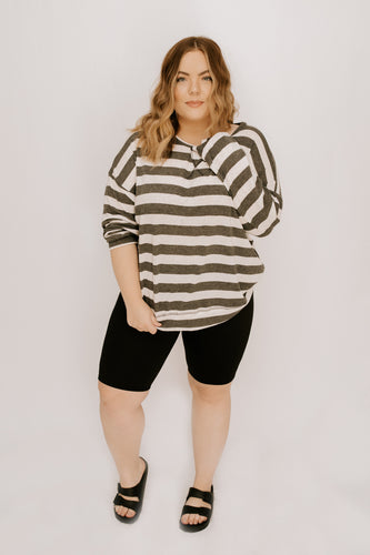 Bridgette Stripe Long Sleeve - Grey