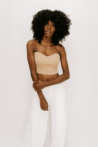 First Glance Knit Crop Top - Nude