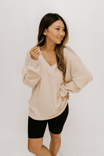 Read + Weep Waffle Knit Top - Cream