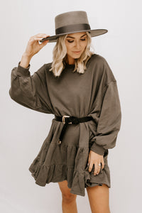 On A Whim Ruffle Shirt Dress - Charcoal
