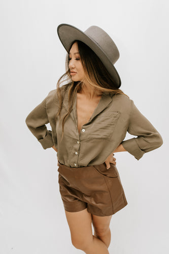 Tara Button Front Top - Olive