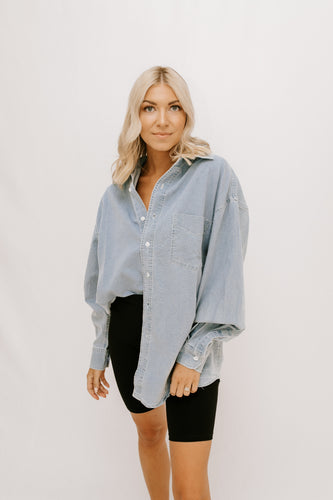 Kenna Button Front Top - Denim