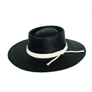 Siggy Stiff Wide Brim Black Woven Hat with Natural Rope Trim