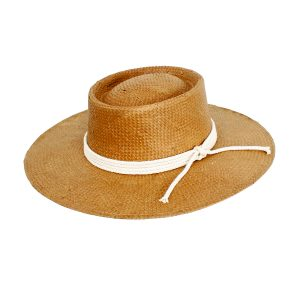 Siggy Stiff Wide Brim Woven Hat with Natural Rope Trim