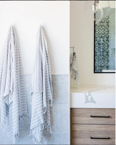 Grey and White Striped Turkish Towel