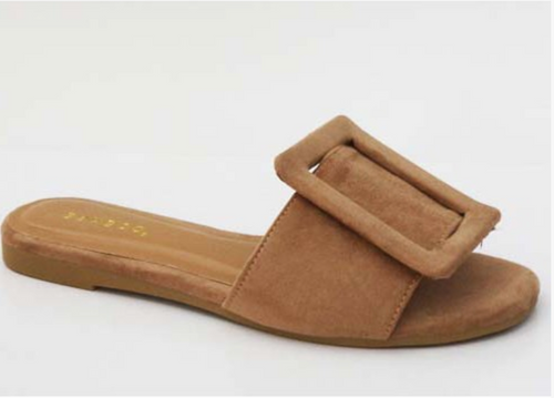 Suede Large Buckle Slip On Mule