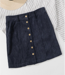Max Button Through Corduroy Mini Skirt