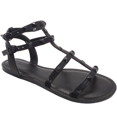 Black Sand All Black Gladiator Sandal with Studs