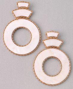 Clover Round Ivory Colored Center Drop Earrings w Gold Textured Edges