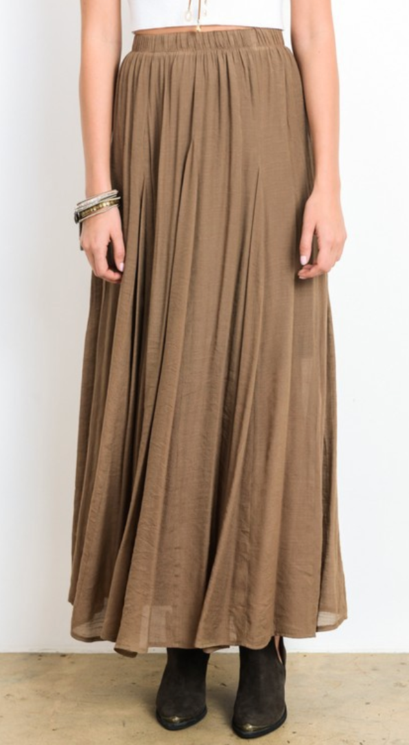 Shale Gold Gathered Lined Maxi Skirt