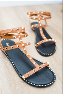 Zuri Camel Gladiator Sandal with Gold Studs