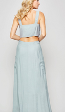 Jade Button Down Crop Top and Maxi Skirt Set
