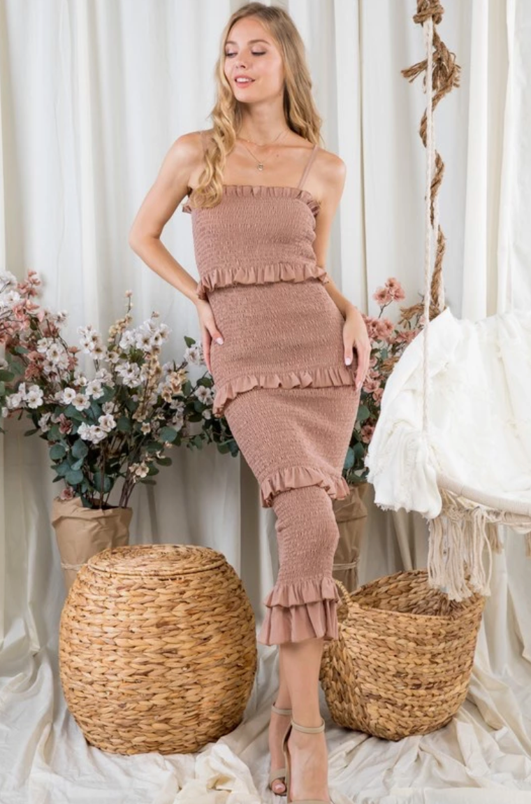 Hamptons Solid Multi Ruffle Spaghetti Strap Bodycon Dress - Taupe