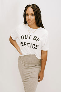 'Out Of Office' Crop Graphic TShirt - White