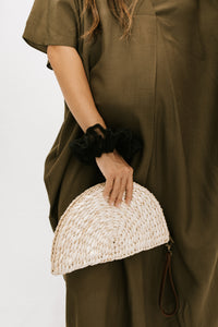 Calypso Straw Fan Clutch - Brass Hardware