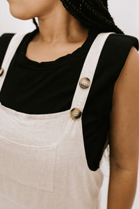 Cloud 9 Linen Blend Overall Jumpsuit - Oatmeal