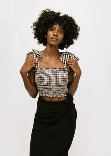 Feel The Love Gingham Crop - Black + Taupe