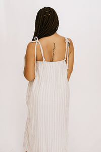Sip Of Summer Stripe Slit Dress - Grey