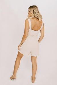 Coast To Coast Button Front Romper - Natural
