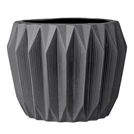 Matte Grey Fluted Flower Pot