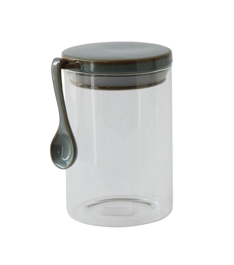 Pixie Glass Canister w/ Stoneware Lid & Spoon - 2 sizes