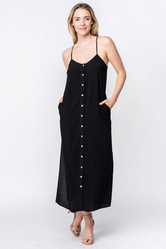 Obsidian Woven Button Down Maxi w Side Slit