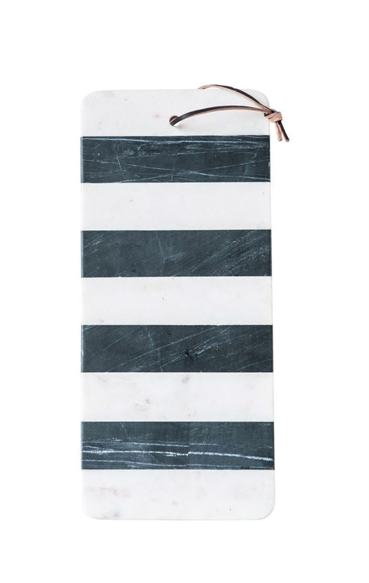 Laine Marble Cutting Board with Wood Base + Black Stripe