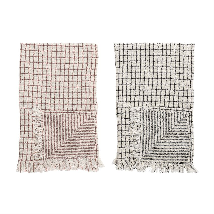 Cotton Double Cloth Kitchen Towel, Grid/Stripes  - 2 colors