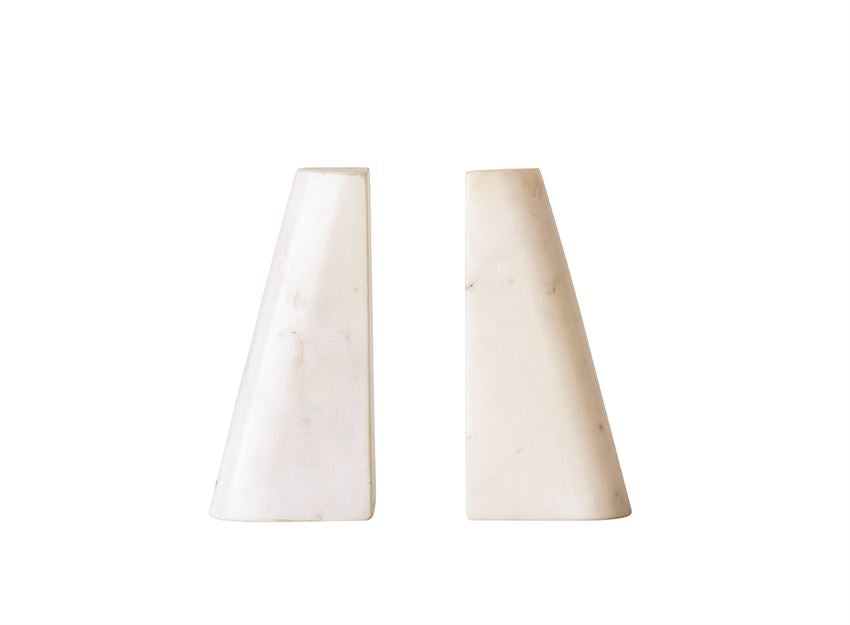 White Cook Marble Bookends Set of 2 -  White