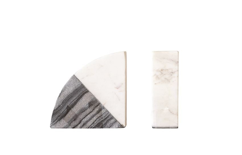 Cook Marble Bookends Set of 2 -  Black + White
