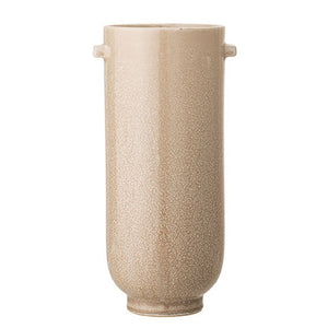 Curve Tall Stoneware Vase, Reactive Glaze - Cream Color