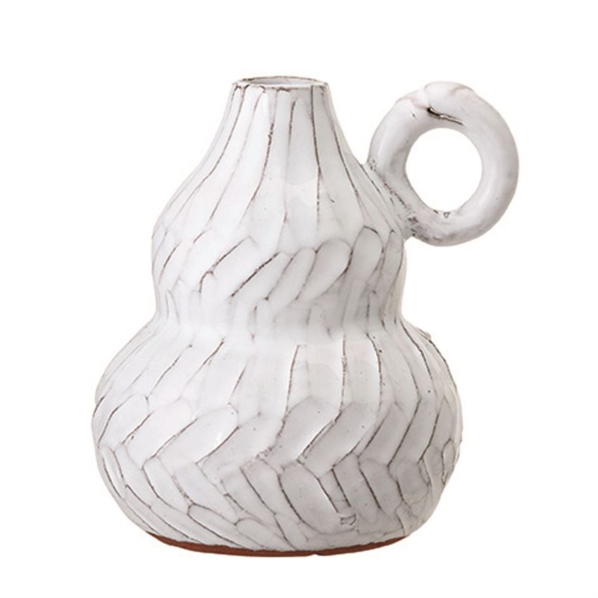 Whipp Terracotta Vase w/ Handle - White