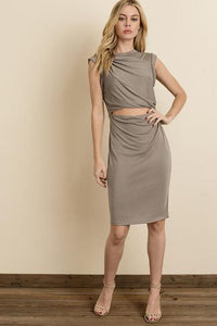Avery Twist Knot Cutout Tank Dress - Pewter