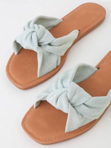Knot Top 4 Strap Flat Sandal - Light Blue