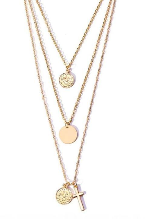 Bohemia Gold Cross Triple Layered Necklace