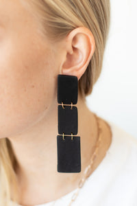 Marbella 3 Layer Post Drop Earrings - Matte Black - Luna & Saya