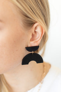 Leon Half Circle Post Drop Earrings - Matte Black - Luna & Saya