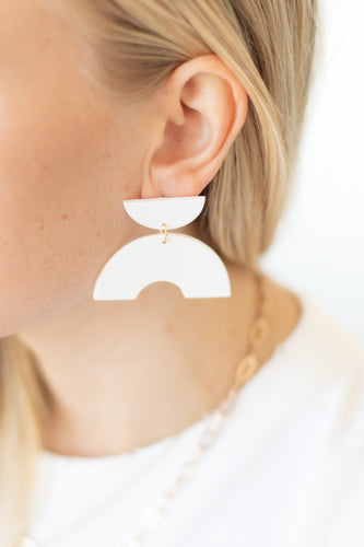 Leon Half Circle Post Drop Earrings - White - Luna & Saya