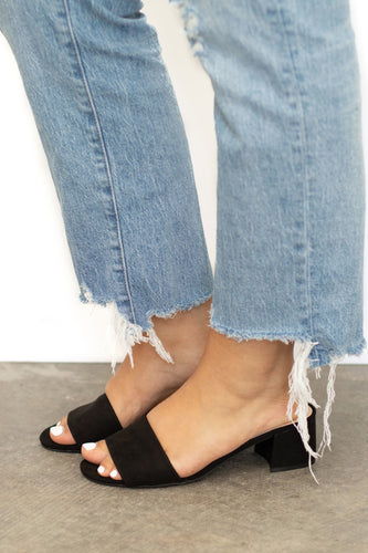Newport Wide Single Strap Suede Low Heel Slide - Black