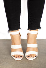 Paulina Strappy Stack Heel Sandal w Gold Buckle - White