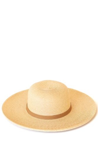 Sunnie Natural Straw Sun Hat w Faux Leather Band - Light Natural