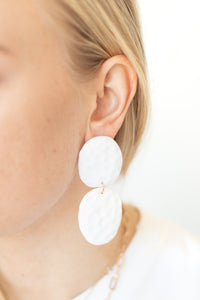 Double Paddle Prickly Pear Post Drop Earrings - White - Luna & Saya