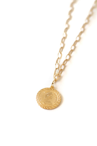 Metallic Antiqued Chain Link Coin Pendant Necklace - Gold