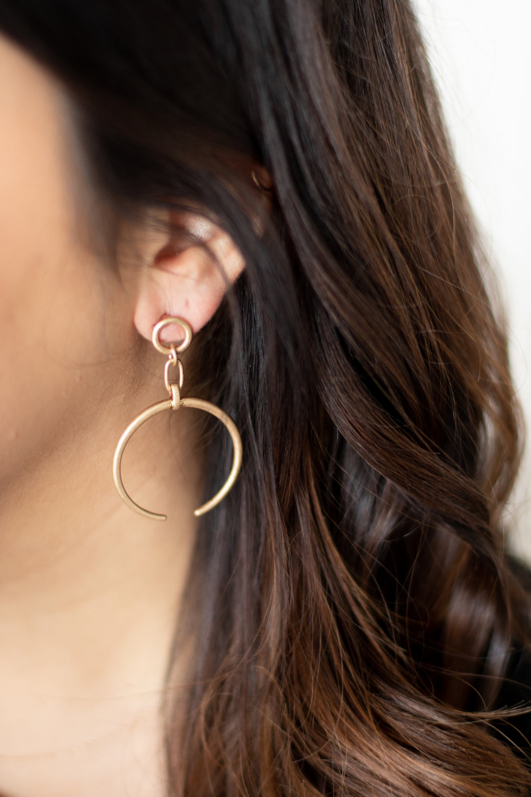 Crescent Moon Drop Earrings - Gold