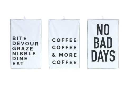Cotton Tea Towel Set w/ Sayings