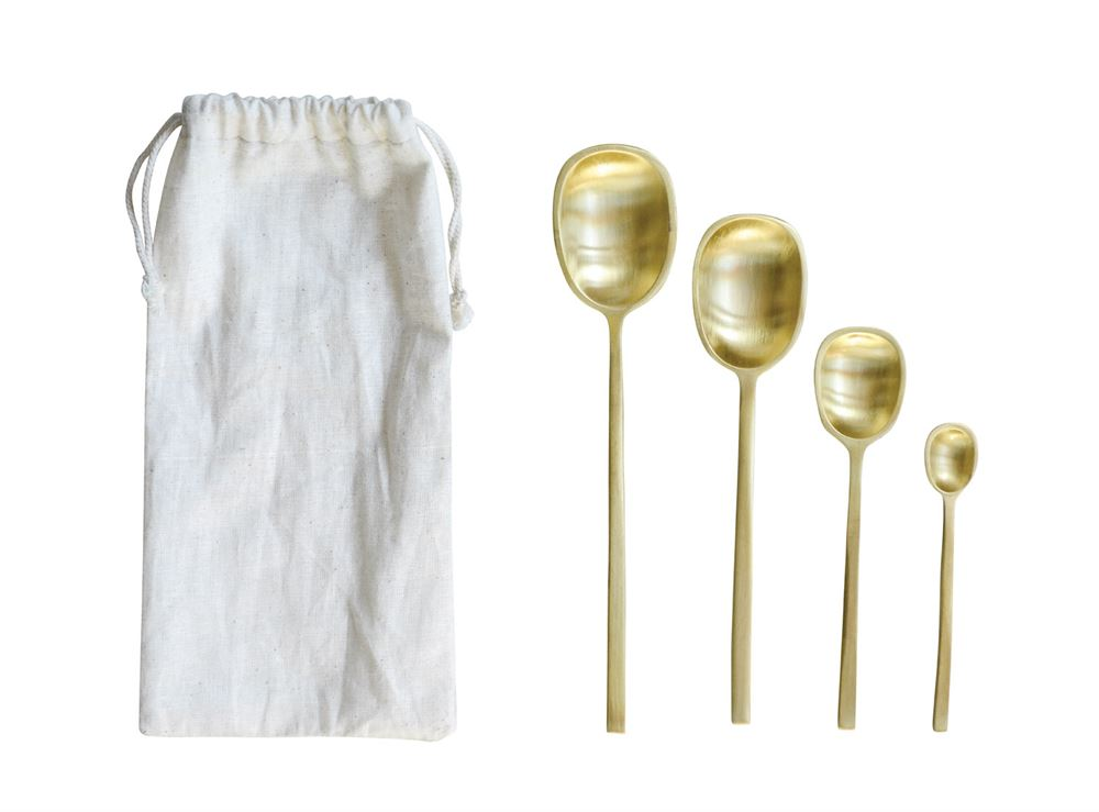 Vienna Brass Spoons w/ Drawstring Bag, Set of 4