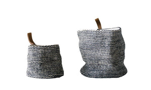 Jute Textured Baskets w/ Leather Loop, Set of 2